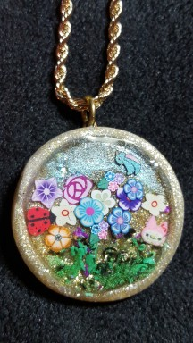 Polymer Clay with inclusions, goldtone necklace 2015-10-28